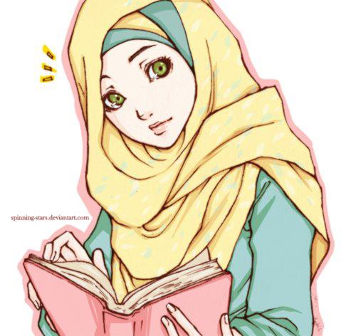 ... Drawings » Illustration of Muslim Woman in Hijab Reading the Quran