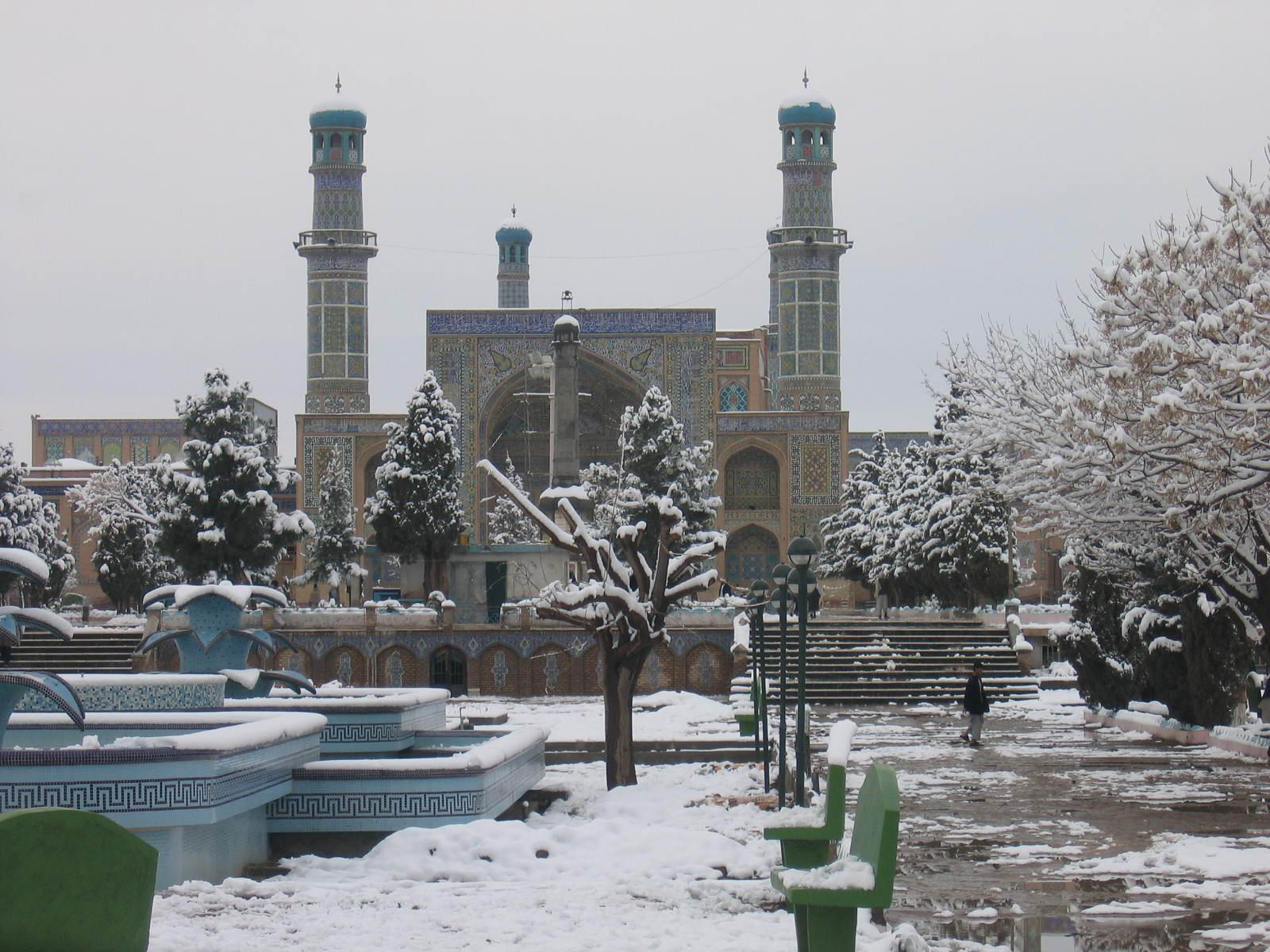 Photo of the friday mosque of herat on a snowy day