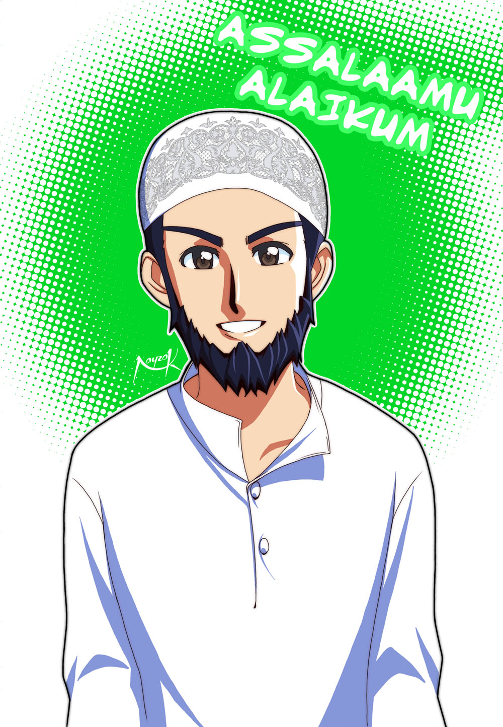Manga-Style Muslim Man Drawing - Drawings | IslamicArtDB.com