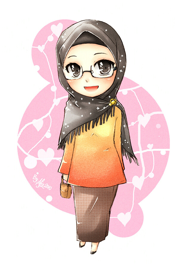 Little Muslimah Woman in Hijab and Glasses - Drawings | IslamicArtDB ...