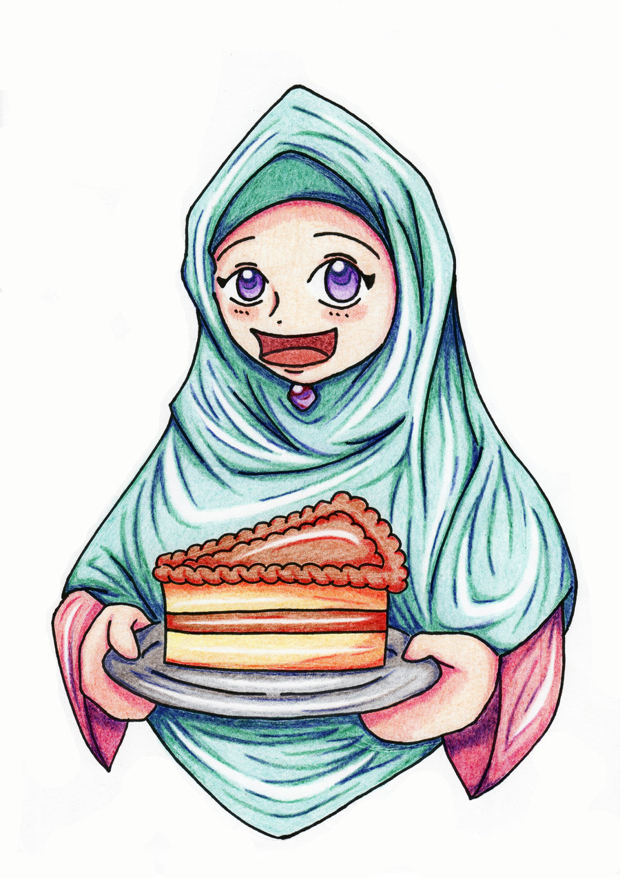 Cute Muslimah Cartoon Cake Ideas and Designs