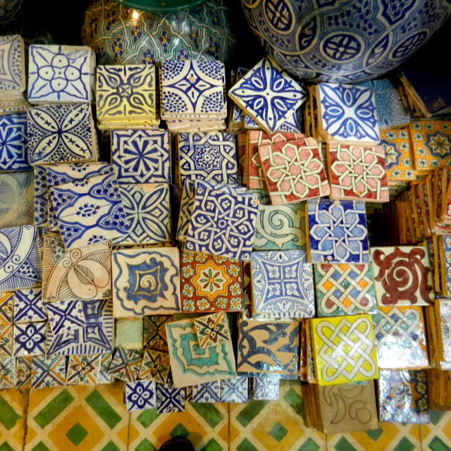 Islamic tiles for sale at moroccan souq Moroccan ceramic floor tile
