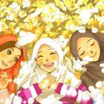 Happy Muslimah Friends (Manga & Anime Style Drawing)