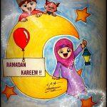 Ramadan Greeting With Muslim Children & Crescent Drawing