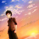 Anime Muslim Boy at Sunset