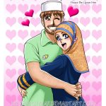 Muslim Couple Hugging & Hadith About Loving One's Wife