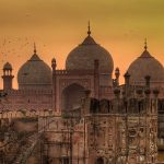 Sundown at Badshahi Mosque in Lahore, Pakistan