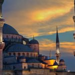 The Sultan Ahmed Blue Mosque in Istanbul, Turkey at Dusk